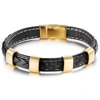 Tênis 8.26 '' Gold Trendy Design de couro genuíno w / aço inoxidável fecho pulseira pulseira vendendo jewlery homens mulheres presentes