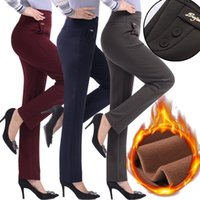 Winter Warm Velvet Thick Trousers Women Capris With High Waist Elastic Middle Aged Mother Stretch Straight Pants Fleece Plus Size