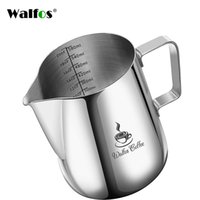 Walfos стиль эспрессо кофе молока кружки чашки горшки кувшин ручка ремесло кофе гирлянда чашка латте кувшин утолщенная нержавеющая сталь 210408