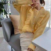 Oceanlove Autumn Winter Cardigans Sweet Solid Ruffles o Neck Warm Women Sweaters Korean Fashion Sueters De Mujer Soft Tops