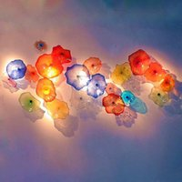 Colorful Hand Blown Lamp Luxury Flower Sconce Gallery Wall Decoration Salon Art Elegant Murano Glass Plates