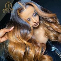 Lace Wigs Blonde Highlight 13x6 Front Human Hair HD Transparent Wig Brazilian Body Wave Ombre Colored Nabeauty 250