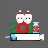 2021 Weihnachtsdekoration Eine Familie handschriftliche Name Maske Schneemann DIY Familie Baum Anhänger Zubehör Seilharz Großhandel