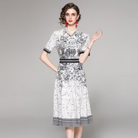 Top Selling Shirt Neck Printed White Dress Women Runway 2021 Designer Short Sleeve Office Ladies Elegant Slim A-Line Pleated Dresses Summer Autumn Party Casual Frock