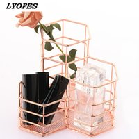 Desk Organizer Storage Accessories Makeup Brush Stand for Pens Pencil Pot Marker Pen Holder Rose Gold Stationery Container