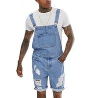 2020 erkek Genel Şort Moda Rahat Fermuar Yırtık Açık Bel Hafif Retro Denim Tulum Mavi Erkek Yırtık Jeans Hip Hop