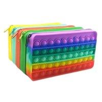 Silicone Rainbow Push Bubble Pencil Bag Case Fidget Toy Simple Dimple Finger Toys Decompression School Pouches 496