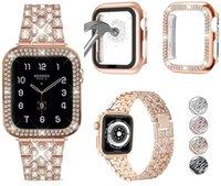 Diamond Strap + Case for Apple Watch Series 6 5 4 SE الفرقة 40mm 44mm الفاخرة الفولاذ المقاوم للصدأ سوار ل أبل ووتش الفرقة 42 ملليمتر 38 ملليمتر