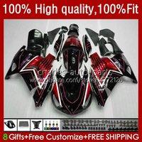 Carnies de inyección para Kawasaki Ninja ZZR1400 ZZR 1400 CC ZX 14R 14 R 12-17 5NO.0 ZZR-1400 ZX14R 12 13 14 15 16 17 ZX-14R 2012 2013 2014 2015 2015 2016 2017 OEM Bodys Black Gloss Rojo