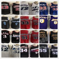 Retro genähte Basketball-Trikots O'Neal Hardaway Männer Allen Iverson 23 Michael 91 Rodman McGrady 32 Karl Malone 33 Hill Ason Williams Jersey Auf Lager