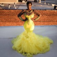 Yellow Sheer Long Sleeves Applique Evening Dresses Mermaid Sweep Train Ruffles Tulle Bride Party Gowns Prom Formal