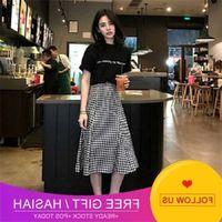 Set Piece Fashion 2020 Two Summer New Korean Student Short Sleeve T-shirt Women's Plaid Skirt Suit Women's Wear