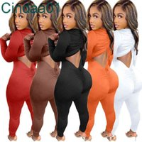 Women Jumpsuits Designer Slim Sexy Onesies Autumn Winter Deep V Neck Drawstring Pleated Hollow Out Solid Colour Bodysuit Rompers 5 Colours