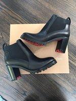 Kadın deri çizme ayak bileği çizmeler kırmızı alt yüksek topuklu tıknaz topuklu ganimet marchacroche siyah buzağı deriler ayak bilekleri patik platformu topuk lastik tabanları
