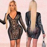 Issqu Nieuw Product 2020 Mode V-hals Hot Diamond Nachtclub Dames H3371 Nieuw Product 2020 Mode Sexy V-hals Hot Diamond Nightclub Jurk D
