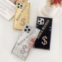 DIY LOGO Luxury Design Rhinestone Box Phone Cases For iPhone 13 Pro Max 12 mini 11 Xr Xs X 8 7 6s Samsung S20 Ultra S9 S21 Plus Note20 Glitter Mirror Scratchproof Cover