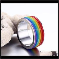 Drop Delivery 2021 Rainbow Ring For Pride Jewelry - Gay Lesbian Wedding Engagement Promise Band Rings Ps1253 Tg0I7