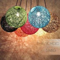Pendant Lamps Creative Retro Rattan Art Spherical Weaving Rope Chandelier For Living Room Bedroom Kitchen Dining