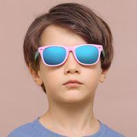 الرجعية الترجيع الاطفال مكبرة للأولاد الفتيات سن 3-12 تحطيم واقية uv400 طفل الأطفال مرآة الجليد الزرقاء عدسة الشمس الزجاج
