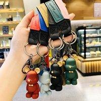 Bear Clé Chaîne Accessoires Mode Bow Trace Trace Bear Porte-clés PU Maroquinerie Porte-porte-clés de bijoux Bijoux Sac Charme Porte-clés d'animaux 6 couleurs