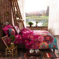 Bright Pink Mandala Bedding Set Reversible Color Design Boho Duvet Cover Bedsheet and Pillowcases Nice Gift Home Wedding 210615
