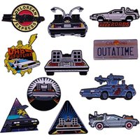Pins, Brooches DeLorean Badge OUTATIME Car Brooch Time Travelling Machine Enamel Pin Retro 80s Movie Back To The Future Marty McFly Doc Brow