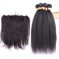 Malaysian Grob Yaki Human Hair-Bundles-Angebote 4pcs mit Frontal 5pcs Los kinky gerader jungfräuliches Haar gewebt mit 13x4-Spitzen-Frontalverschluss