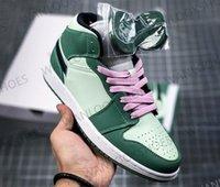 Chaussures de basketball pour hommes avec la chaussée rose Mode 1S 3 D Hommes verts Femmes Formatrices Classic Sneakers