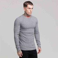 Machinefitness dos homens outono homens fino pullover blusas sólidas ocasional o pescoço manga comprida knitwear fino fit top macho m-2xl yk6z