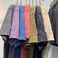 CP TopStone Retro Street Style Мужская футболка Высокое Качество Значок Простой Коротким Рукавом Хлопчатобумажная Умывальник для старого расслабленного вскользь дна