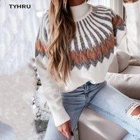 Tyhru Bayan Sonbahar Kış Rahat Kazak Yüksek Boyun Örme Uzun Kollu Kontrast Renk Gevşek Kazak Yumuşak Sıcak Kazak Tops