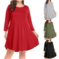 Casual Dresses Fashion Summer Womens Large Size Long Sleeve Solid Knee Length Dress Spring O-neck Loose Party For Ladies