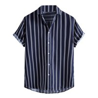 Men's Casual Shirts Men Striped Shirt Lapel Neck Short Sleeve Button Brand Chic Loose Streetwear Vacation Blouse Chemise 2021