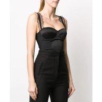 Gelegenheitskleider 4.24 !!! Hochwertiger Spaghetti-Riemen-Korsett-Bodysuits Patchwork-Spitze sexy schwarze Jumpsuits