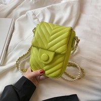Evening Bags V-line Quilting PU Leather Mini Crossbody Bag For Women 2021 Summer Travel Trends Shoulder Purses And Handbags Chain Beading