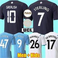 21 22 Camisa de futebol do Manchester City GREALISH G. JESUS STERLING RÚBEN Kits DE BRUYNE forragens MAHREZ MENDY BERNARDO 2021 camisa de futebol HOMEM kit infantil conjuntos