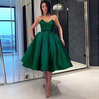 녹색 졸업식 칵테일 드레스 2021 우아한 새틴 공 가운 홈 컴컴스 Vestidos 드 갈라 여성 파티 밤 짧은 댄스 파티 드레스