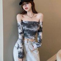 Women's T-Shirt Korean Tie-Dyed Slash Neck Sweet T-Shirts Women Spring Autumn Exposed Navel Long Sleeved Knitted Crop Top Ladies Tee Shirt