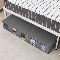 صندوق تخزين تحت السرير الملابس القابلة للطي الرطوبة واقية منظم منظم القطن الكتان واقية الغبار المحمولة لحاف أكياس مع غطاء التشطيب HWD6541