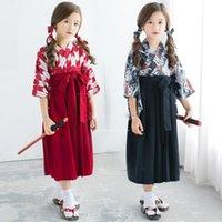 Oriental Traditional Japanese Costumes For Children Samurai Kawaii Girl Yukata Vintage Kimono Dress Top Skirts Performance Dance Ethnic Clot