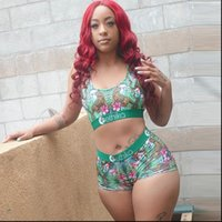 ETHIKA Special Summer Sleeveless Womenpant Short Floral Print Green 2PCs Set Gym Fiteness Beach Clothing Ladies Women Sets