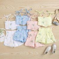 kids Clothing Sets girls Leaf print outfits children Sling Tops+shorts 2pcs set summer fashion Boutique baby Clothes Z3815