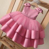 Girl's Dresses Children Girls Princess Dress Lace Beaded Baby Wedding Party Bow Tutu Ceremony Birthday Custumes