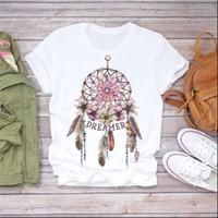 Le donne Top Summer T Shirt Dreamcatcher stampato Vogue Lucky Casual Casual Bianco Cotone donna vestiti stile coreano