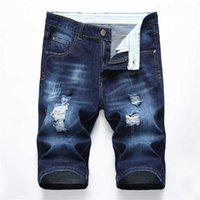Men's Shorts Jeans Distressed Ripped Biker Slim Fit Motorcycle Denim For Men Fashion Mans blue hip hop Short Pants