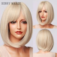 Henry Margu Platinum Blonde Partys Cosplay Party Party Daily Parrucche giornaliere diritti di diritti sintetici Bob Parrucche sintetiche con pony per le donne Ristant di calore
