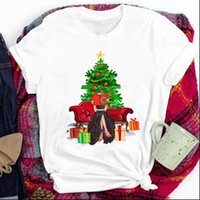 Short Sleeve Cartoon Cute 90s Womens T Shirt Happy Holiday Merry Christmas Print Clothes Top Graphic Female Tee