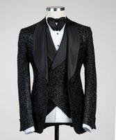 Black Sequins 2021 Wedding Tuxedos Men Suits Three Pieces Shawl Lapel Designer Mens Jacket Vest Pants