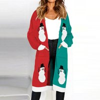 Ladies Sweaters Ugly Christmas Women Warm Autumn Winter Snowman Knitted Leopard Sweater Tops Fashion Womens Cardigans