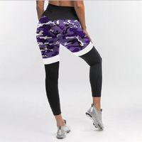 Kadın Pantolon Capris 2021 Kamuflaj Bayan Leggins Patchwork İnce Streç Pantolon Ordu Yeşil Tozluk Fitness Uzun